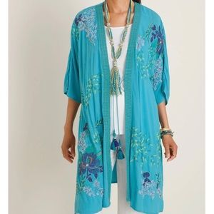 CHICO'S Blue Intricately Embroidered Duster